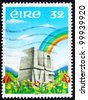 IRELAND - CIRCA 1992: a stamp printed in the Ireland shows Rainbow over Meadow and Word LOVE Etched in Stone, circa 1992 - stock photo