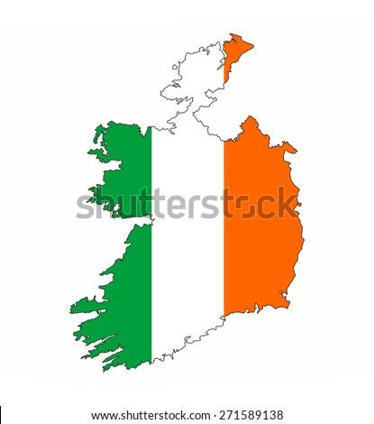 ireland country flag map shape national symbol - stock photo