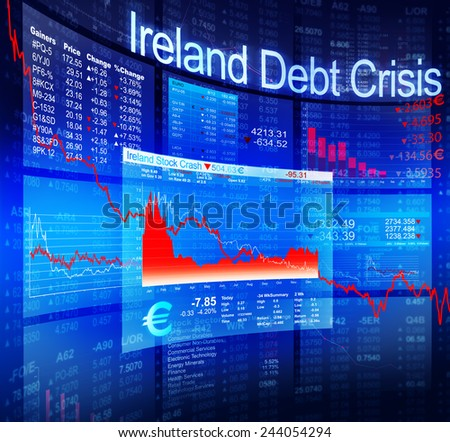 Ireland Debt Crisis Economic Stock Market Banking Concept - stock photo