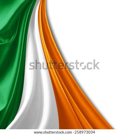 Ireland flag and white background - stock photo