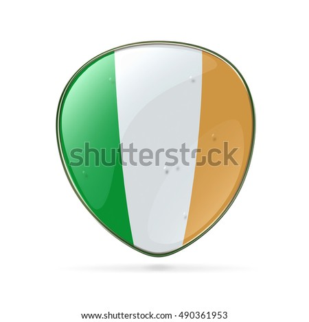 Ireland Flag Icon, isolated on white background.