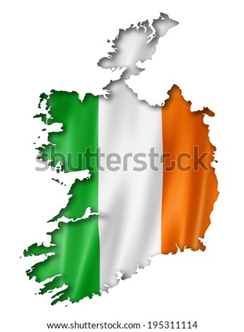 Ireland flag map, three dimensional render, isolated on white - stock photo