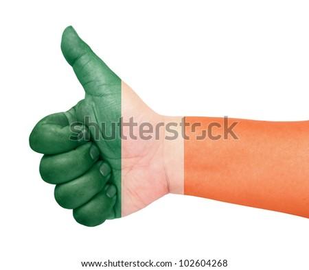 Ireland flag on thumb up gesture like icon - stock photo