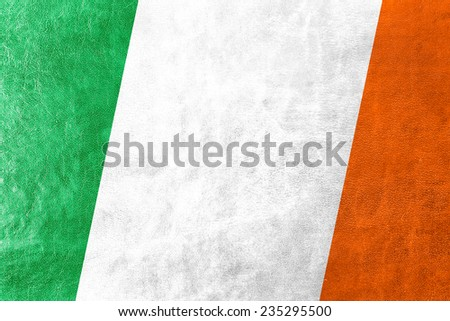 Ireland Flag painted on leather texture