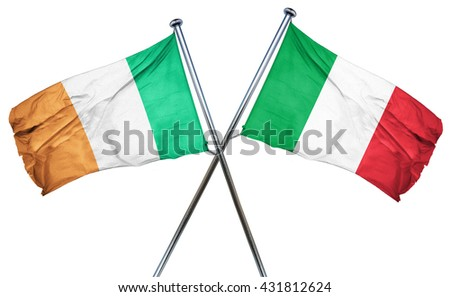 Ireland flag with Italy flag, 3D rendering