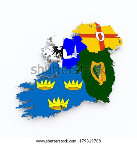 ireland four provinces flags on 3d map - stock photo