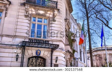 Ireland Irish Embassy Embassy Row Massachusetts Avenue Washington DC - stock photo