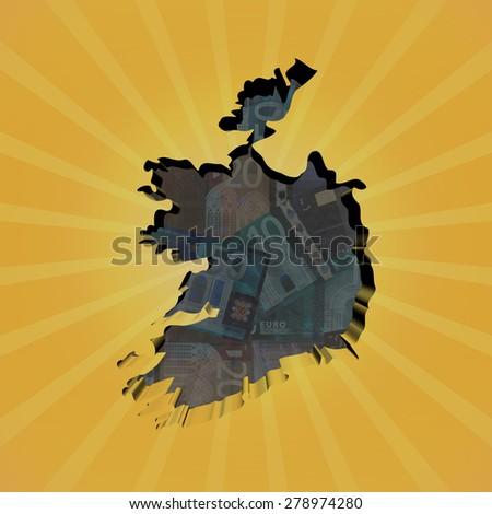 Ireland map on euros sunburst illustration - stock photo