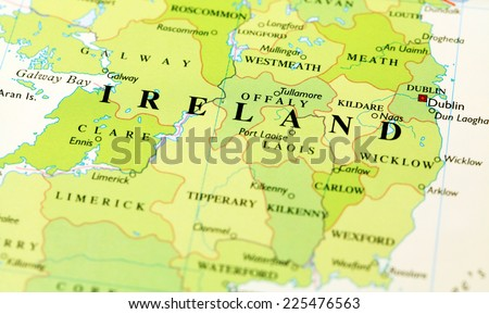 Ireland on atlas world map
