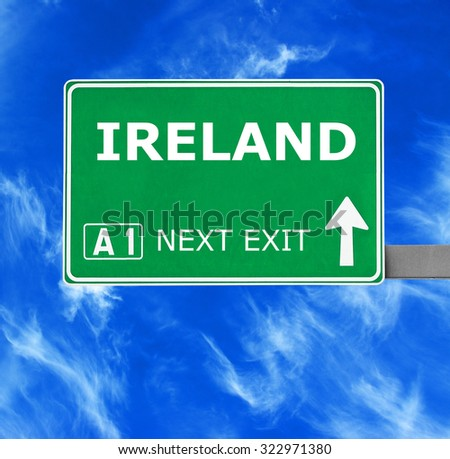 IRELAND road sign against clear blue sky