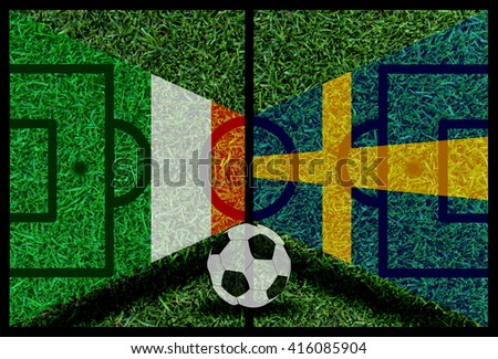 Ireland vs Sweden football flag background on green pitch 2016 - stock photo