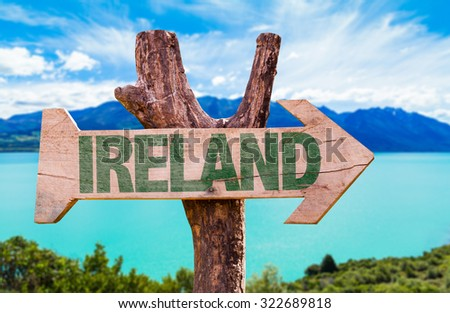 Ireland wooden sign with lake background - stock photo
