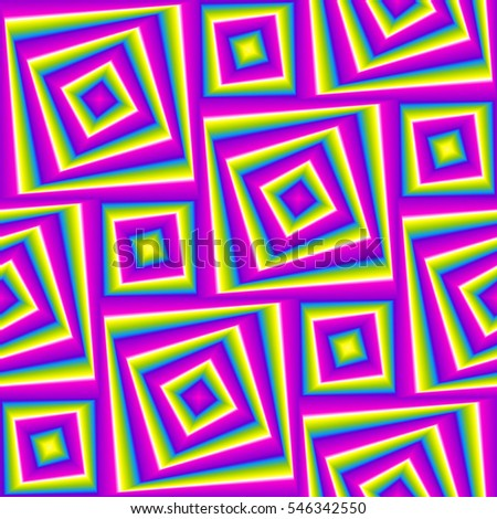 Iridescent background with squares. Motion illusion. Seamless pattern.