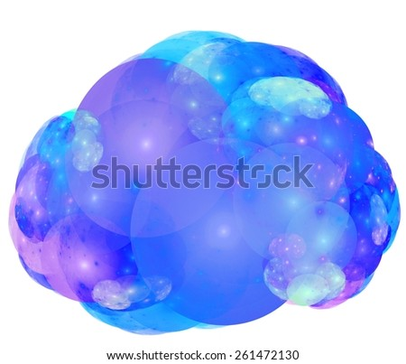 Iridescent bubble suds isolated on white background