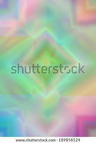 Iridescent rhombuses on light pastel matt multicolored background  - stock photo