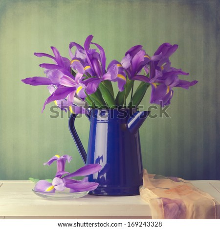 Iris flower bouquet over vintage background - stock photo
