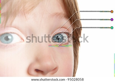 Iris scan, biometric scanning of eye retina for identification. Close-up of child pupil with high-tech graphic overlay - stock photo