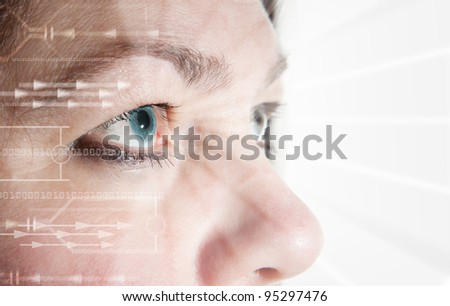 Iris scan, biometric scanning of eye retina for identification. Close-up of woman's pupil with high-tech graphic overlay