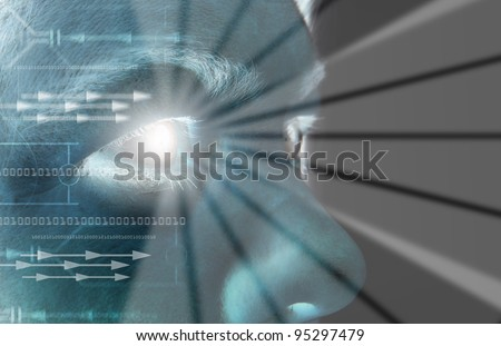Iris scan, biometric scanning of eye retina for identification. Close-up of woman's pupil with high-tech graphic overlay - stock photo