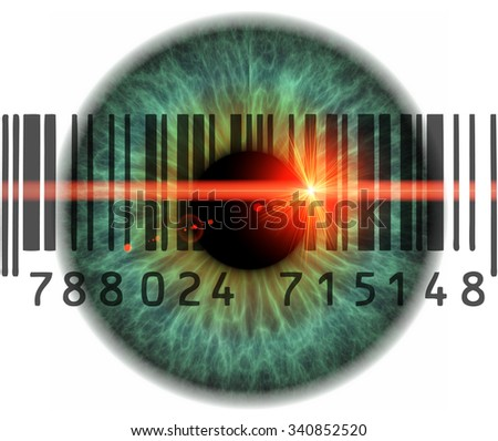 Iris with barcode and red laser ray