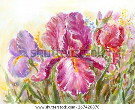 Irises flowers on a meadow. Original oil painting illustration - stock photo
