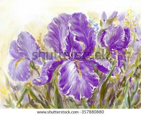 Irises flowers on a meadow. Original oil painting illustration - stock photo