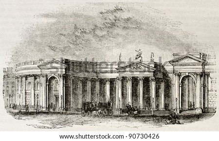 Irish bank, Dublin. Irish parliament seat before UK unification. By unidentified author, published on Magasin Pittoresque, Paris, 1844 - stock photo