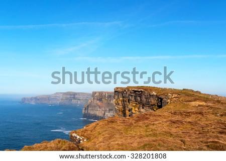 Irish cliffs of Kilkee - stock photo