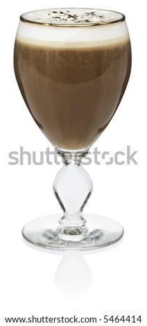 Irish Coffee Cocktail - isolated on white - stock photo