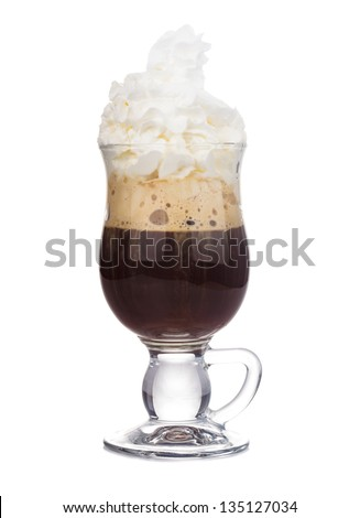 irish coffee in glass isolated on white background - stock photo