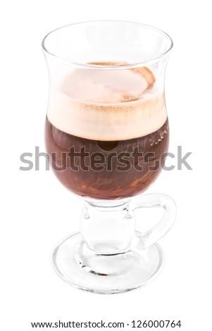 Irish coffee isolated on white background - stock photo