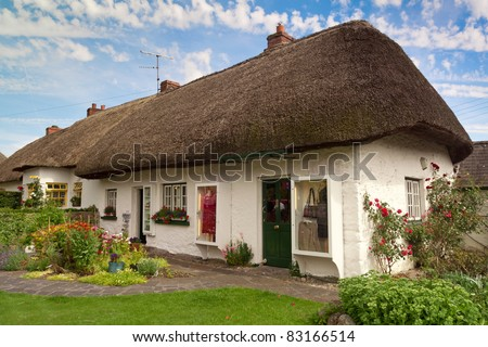 Irish cottage house - stock photo