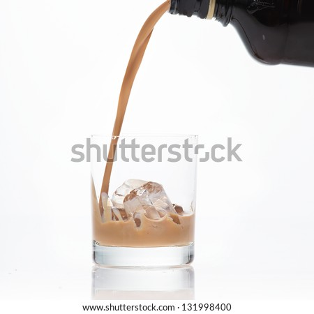 Irish cream on the rocks - stock photo