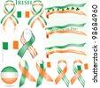 Irish flag ribbon set isolated on white. - stock photo