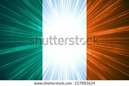 Irish flag with light rays abstract background - stock photo