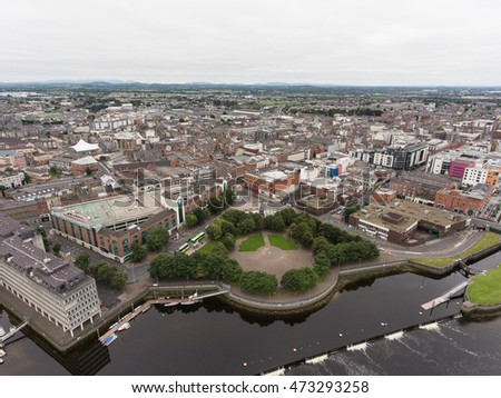Irish Ireland City Skyline Aerial view cityscape of limerick city skyline, irelands 3rd largest city,  ireland. Large Irish urban limerick city skyline with skyscraper.
