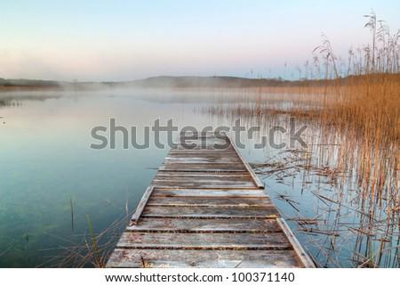 Irish lake at dusk - stock photo