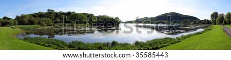 Irish lake panoramic - stock photo