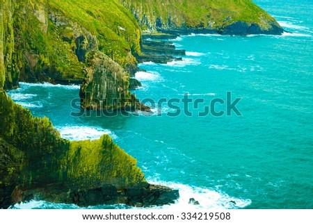 Irish landscape. Coastline atlantic ocean rocky coast scenery. County Cork, Ireland Europe. Beauty in nature. - stock photo