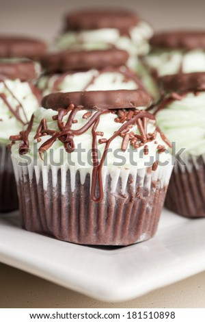 Irish Mint Chocolate Cupcakes - Chocolate cake with chocolate mint cookie pieces filled with mint topped with a green mint buttercream frosting, drizzled with dark chocolate, and a cookie thin cookie - stock photo