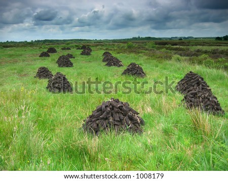 Irish peat left to dry - stock photo