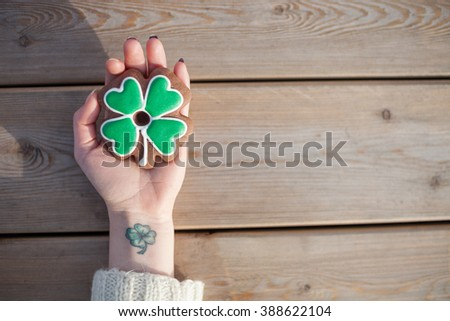 Irish people bake clever shaped cookies to celebrate St Patricks Day - stock photo