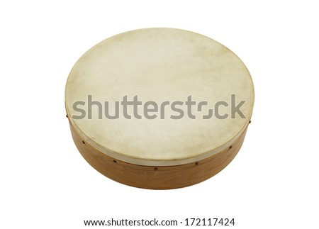 Irish percussion Bodhran isolated on white - stock photo
