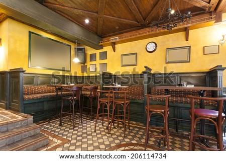 Irish pub interior - stock photo