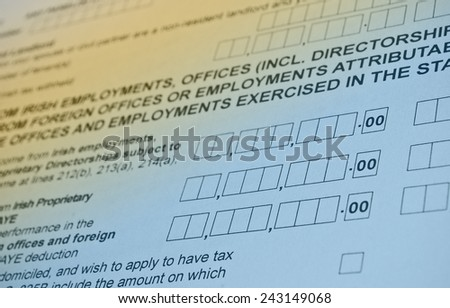 Irish tax form. Personal income tax form used in Ireland. - stock photo