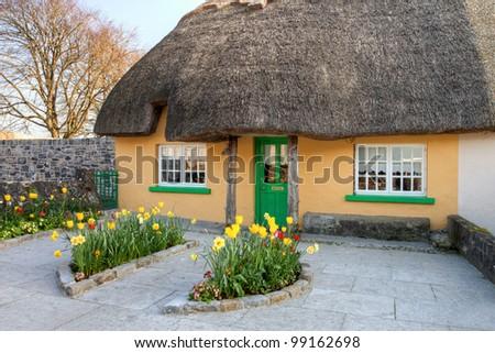 Irish traditional cottage house in Adare - Ireland. - stock photo