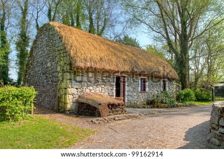 Irish traditional cottage house of  Bunratty Castle and Folk Park - Ireland. - stock photo