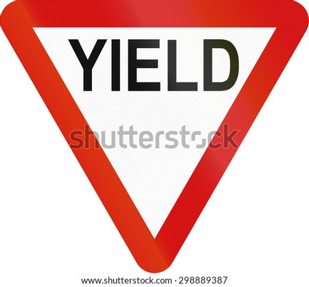 Irish traffic sign: Yield sign - Version in English