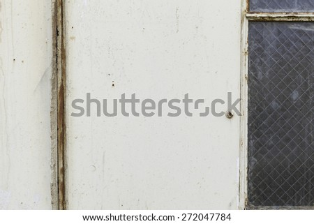Iron, aluminum texture, with rust, white, beige, cream wall, floor with crack, dents, scratches, window panes