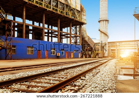 Iron and steel industry landscape, Shanghai, China. - stock photo